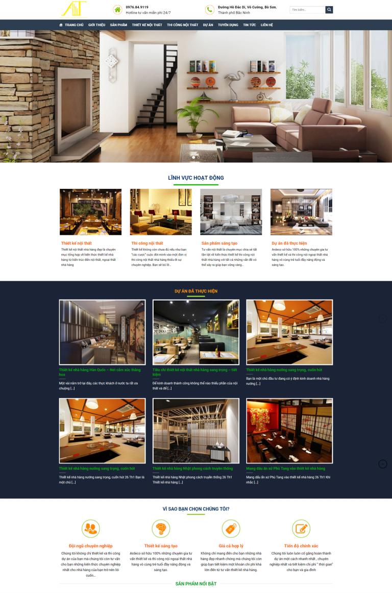 Giao diện web nội thất xây dựng tiến an